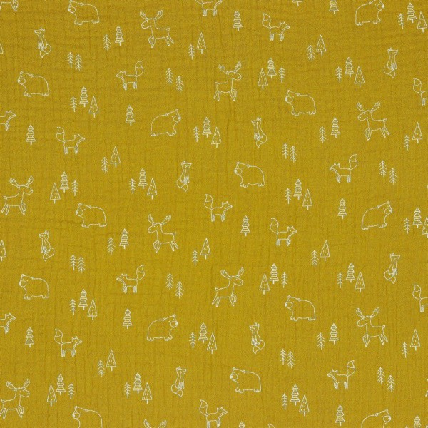 Double Gauze GOTS Forest Animals 120 g/m² ca.135 cm col.011 ochre