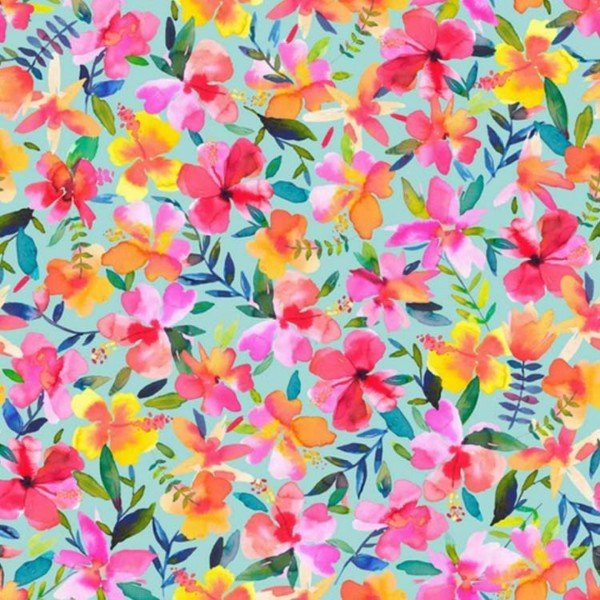 French Terry Love Hibiscus - col. 006 hellblau