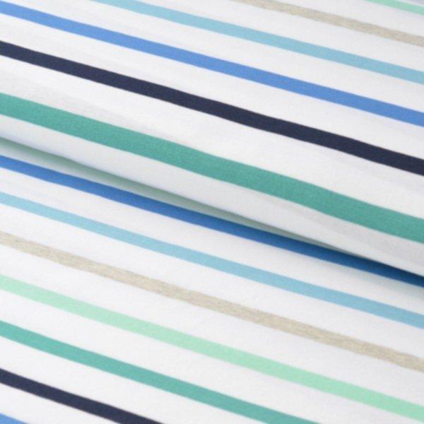 Jersey Multi Stripes, blau-türkis-weiss, Hamburger Liebe