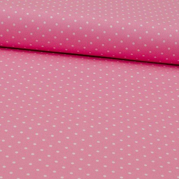 Baumwoll Druck, Popeline, rosa mit weissen Punkten
