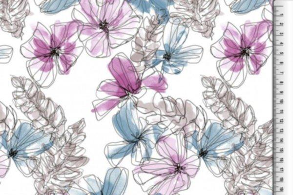 Viskose Druck, Blumen, violett-blau