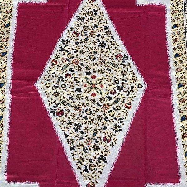 Dashiki Print, Pink / Weiss mit Blumenmuster, Mustergrösse 80cm x 118cm