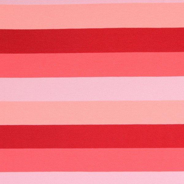 Jersey Baumwolle, Block Stripes, rot-pink-rosa-lila