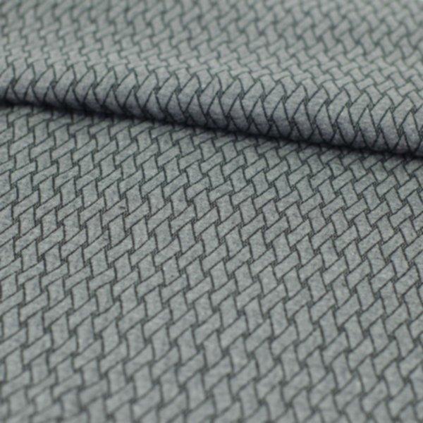Minijacquard Jersey Plain Stitches, Basket Knit, anthrazit mel.-schwarz, Hamburger Liebe (Albstoffe)