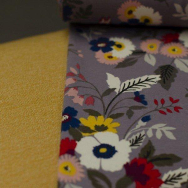 French Terry (sommersweat), ungeraut, Vögel und Blumen auf grau