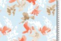 Jersey Viskose, Blumen, orange-beige