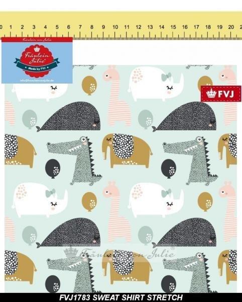 Sweat Stretch Baumwolle, Funny Animals, Fräulein von Julie