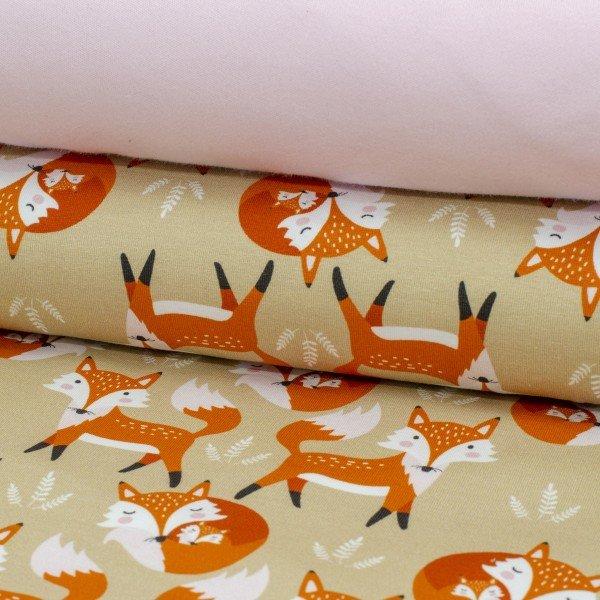 Jersey Baumwolle, Fuchs, orange beige