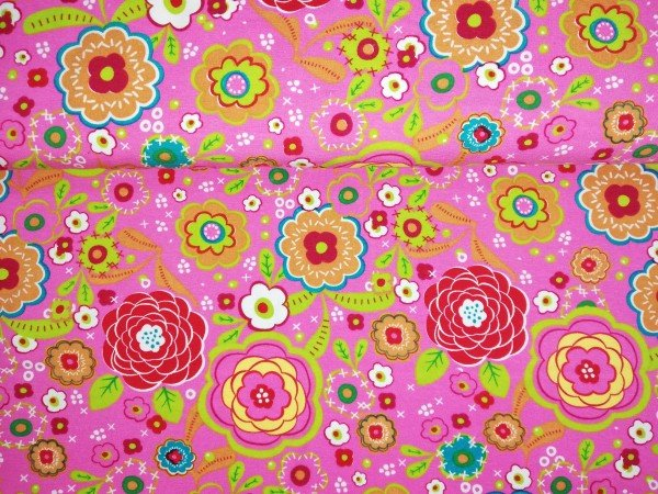 Jersey -Stretch bedruckt Blume pink