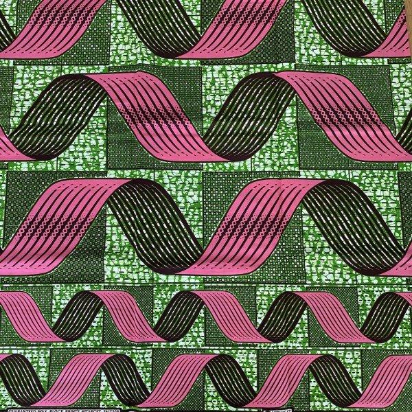 Ankara Print, Pink / Grün, Wellenmuster