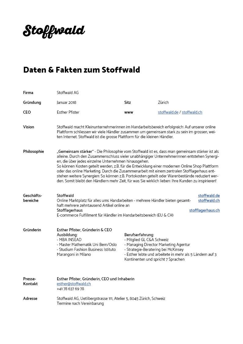 Daten & Fakten zum Stoffwald