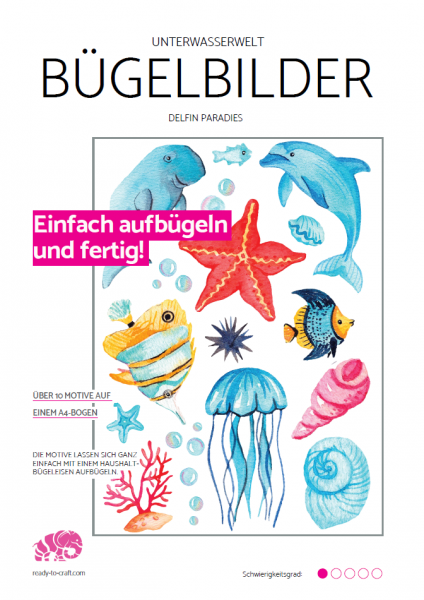 "Bügelbilder ""Sea Love"" - Blau Delfin Paradies"