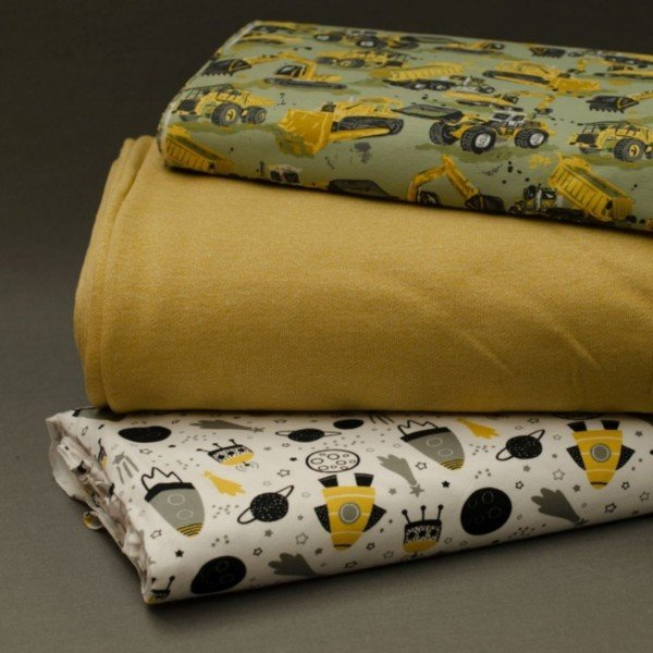 Jersey Baumwolle, Weltall gelb/grau auf weiss, Stenzo