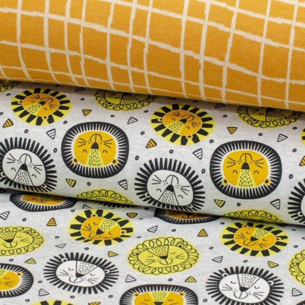 Jersey Baumwolle, Happy Lions, gelb-grau