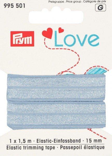 Elastic-Einfassband 15mm, Falzgummi von Prym, hellblau, Karte à 1.5m