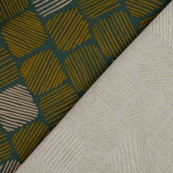 Canvas Struktur, petrol-gold-cremeweiss, Strichquadrate, Tillisy