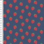 Baumwolle Design Poplin Strawberry - col. 1107 dunkelblau