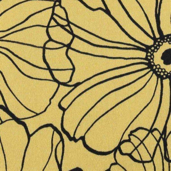 Cotton Satin Spandex Design Flowers - col. 010 curry
