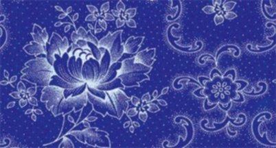 BW-Stoff Klassiker blau Rosen Ranke blau-weiss