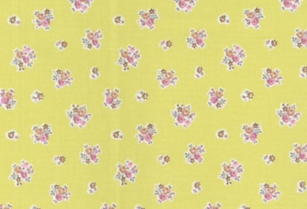 BW-Stoff Gent Blumen lemongrün