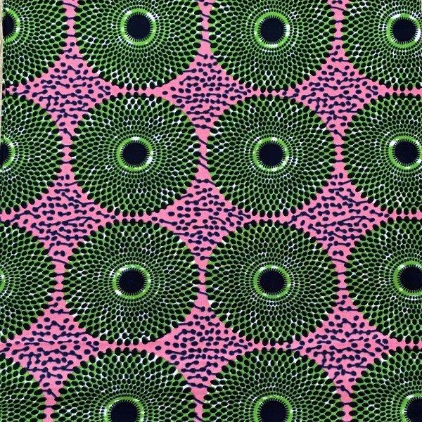 Ankara Print, Pink / Grün mit Rondellen