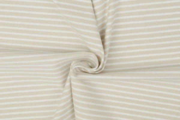 Jersey gestreift weiss-beige