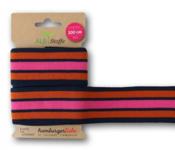 Stripe Me College, navyblue-pink-rost, Strickband