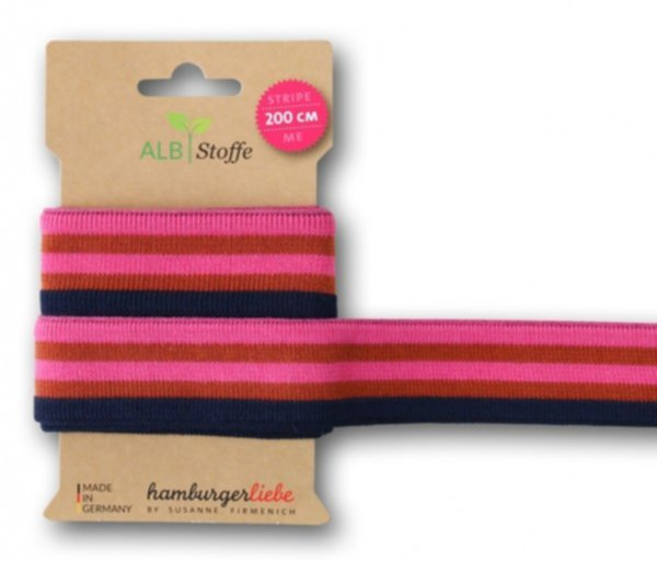 Stripe Me College, navyblue-rost-pink