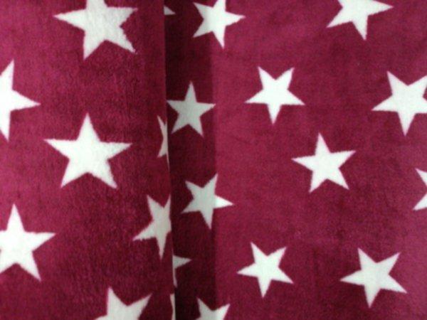 Micro-Fleece double-face bordeaux rot/Sterne