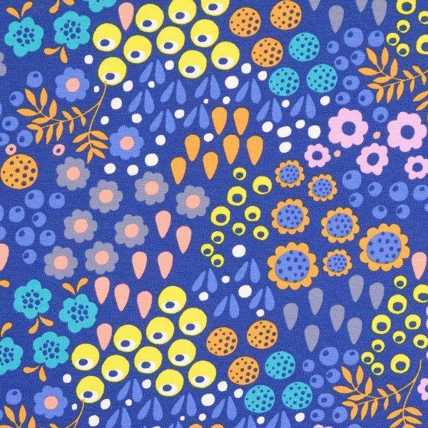 Jersey Blumenmuster - blau - Stück à 80cm