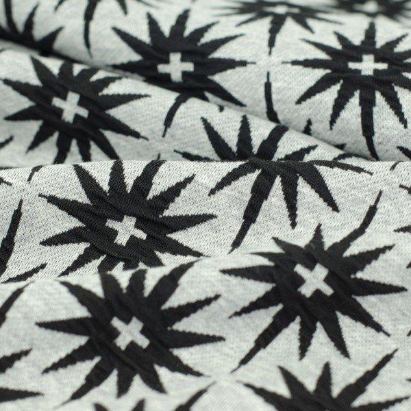Jacquard Jersey Plain Stitches, All the Stars, schwarze Sterne auf grau, Hamburger Liebe (Albstoffe)