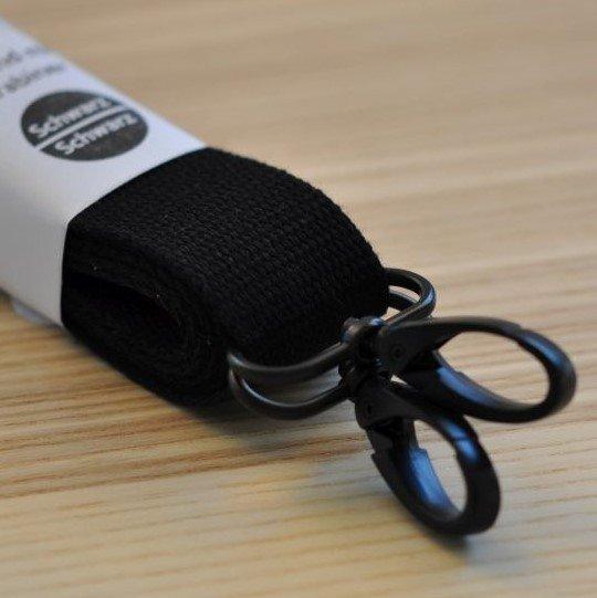 Set BW-Gurtband 3/150 mit Schnallen/Karabiner - Schwarz / matt-schwarz