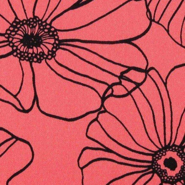 Cotton Satin Spandex Design Flowers - col. 009 coral