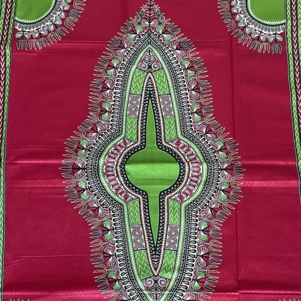 Dashiki Print, Pink / Grün, Mustergrösse 118 cm x 80 cm