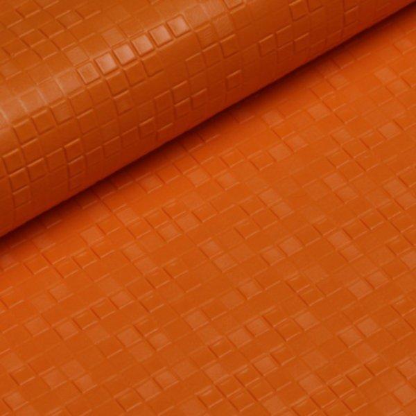 Kunstleder Karo geprägt - orange