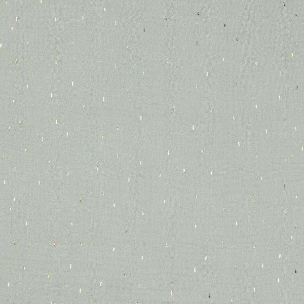 Double Gauze Design Foil Stripes - col. 007 light grey/gold