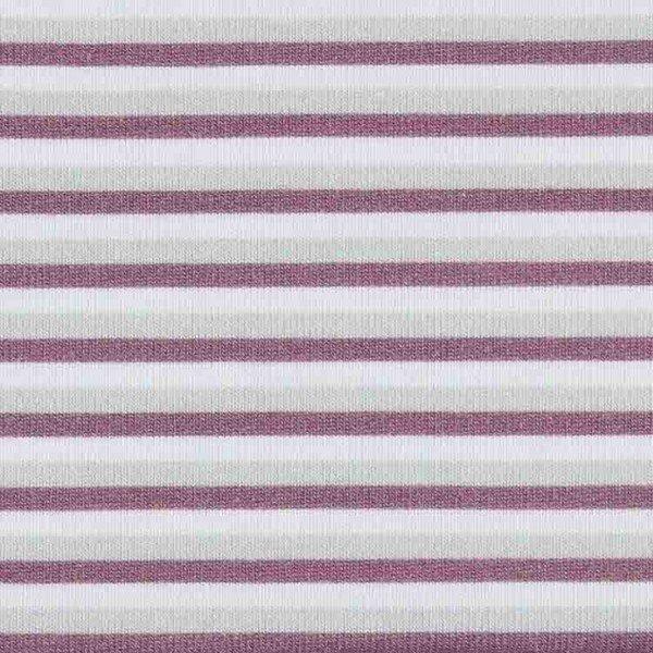 Jersey Design Stripes - col. 620 hellgrau/aubergine/weiß