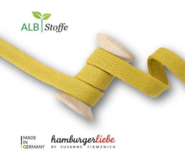 Cord ME uni senfgelb, Flachkordel, Hamburger Liebe (Albstoffe) 1.2cm