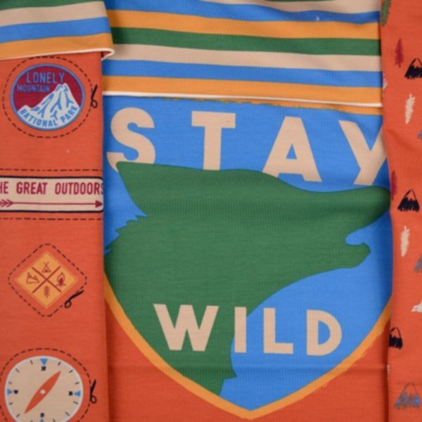 "French Terry (leichter Sweat), geraut, Panel ""Stay Wild"""