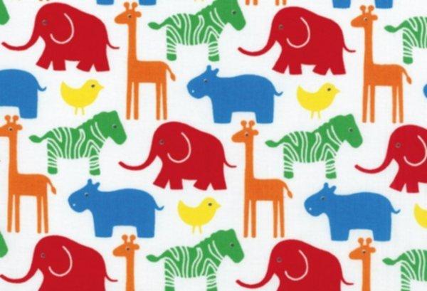BW-Stoff Junge Linie Afrika Tiere weiss, bunt