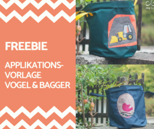 FREEBIE! Applikationsvorlage Vogel & Bagger
