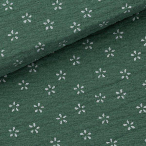 Musseline Blumen klein - Moosgrün