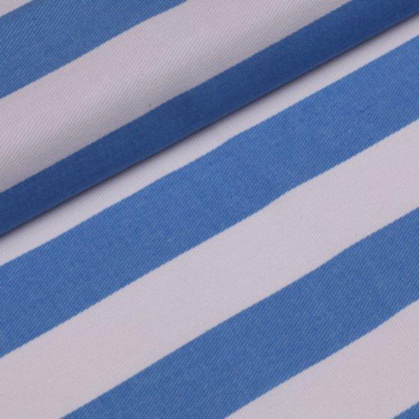 Köper Streifen breit bedruckt - hellblau-weiss