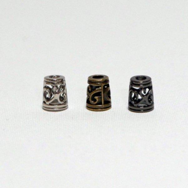 Kordel-Abschluss Metall - Filigran - in 3 Farben (für 3-6mm Kordel)
