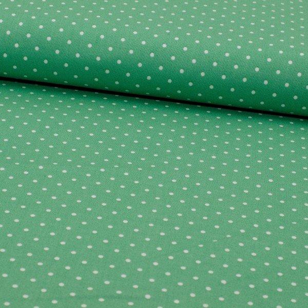 Baumwoll Druck, Popeline, grün mit weissen Punkten