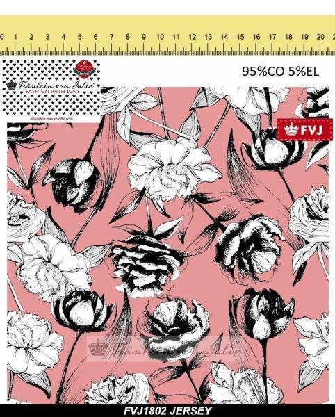 Jersey Baumwolle, Modern Flowers, rosa