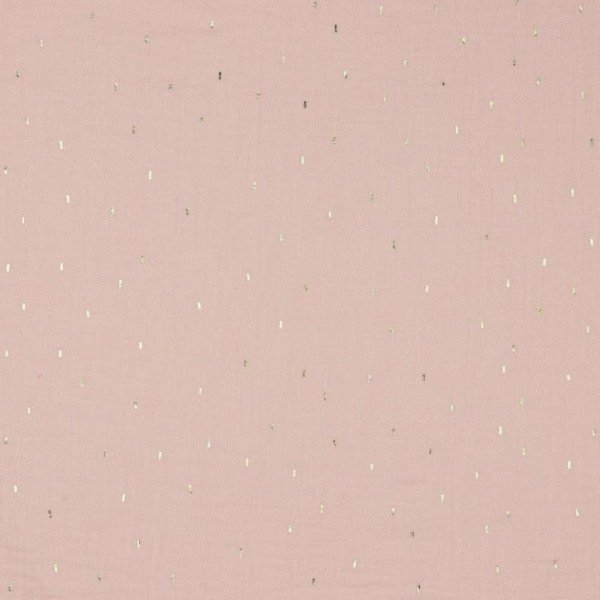 Double Gauze Design Foil Stripes - col. 003 light pink/gold