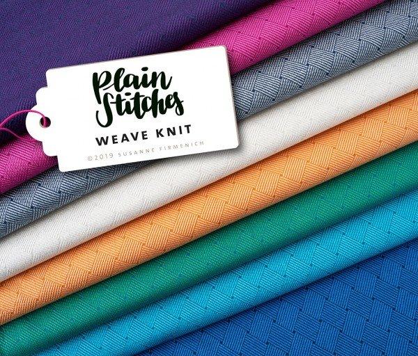 Jacquard Jersey Plain Stitches Weave Knit, mittelgrau-blue navi, Hamburger Liebe (Albstoffe)