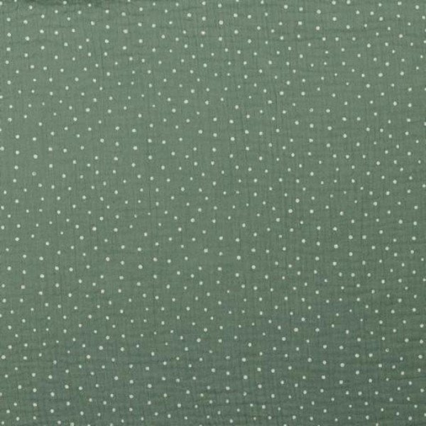 Double Gauze Design Little Dots - col. 025 grün