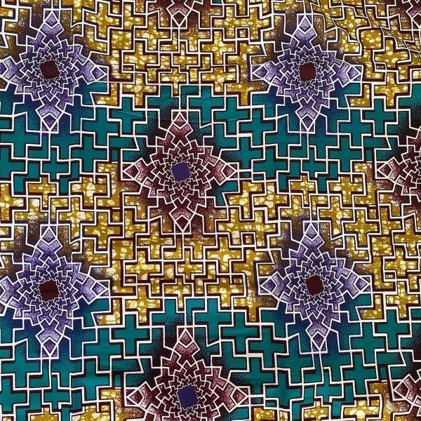 Ankara Print, Gold / Grün / Lila gemustert